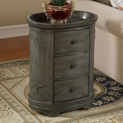 Coast to Coast Imports Three Drawer Oval Chest; Texture Grey