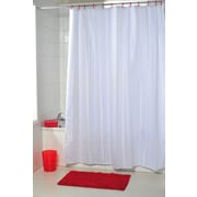 Evideco Vertical Stripes Shower Curtain; White