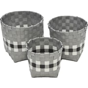 Evideco 3 Piece Checkered Woven Round Strap Basket with Square Base; Gray / Black