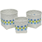 Evideco 3 Piece Checkered Woven Round Strap Basket with Square Base; White / Blue