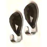 Evideco Chromed Self Adhesive Hooks with Diamond Decoration (Set of 2); Dark Gray
