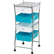 Evideco Four Drawers Storage Rolling Cart; White / Blue