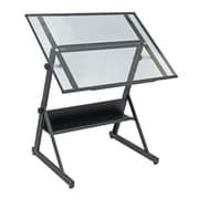 Studio Designs Solano Adjustable Drafting Table; Charcoal/Clear Glass