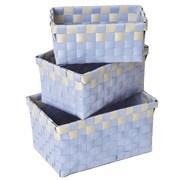 Evideco 3 Piece Checkered Woven Basket Set; Blue