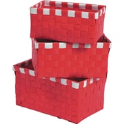 Evideco 3 Piece Checkered Woven Basket Set; Red