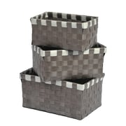 Evideco 3 Piece Checkered Woven Basket Set; Taupe