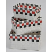 Evideco 3 Piece Checkered Woven Basket Set; Multi