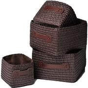 Evideco 4 Piece Rectangular Basket w/ Handle Set; Brown