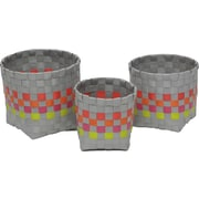 Evideco 3 Piece Checkered Woven Round Strap Basket with Square Base; Gray / Orange