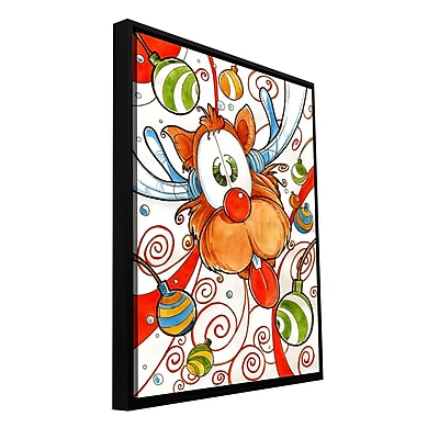 ArtWall 'Rudolph Red Nose Deer' by Luis Peres Framed Graphic Art on Wrapped Canvas; 18'' H x 14'' W WYF078277280793