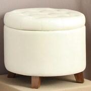 Poundex Storage Ottoman; White