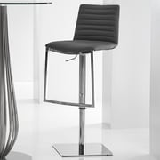 Bellini Modern Living London Adjustable Height Swivel Barstool with Cushion; Silver