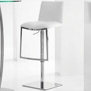 Bellini Modern Living Milano Adjustable Height Swivel Barstool with Cushion; White