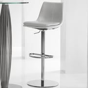 Bellini Modern Living Monte Carlo Adjustable Height Swivel Bar Stool; Silver