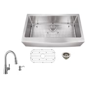 Soleil 36'' x 20.75'' Apron Front Single Bowl Undermount Stainless Steel Kitchen Sink with Faucet
