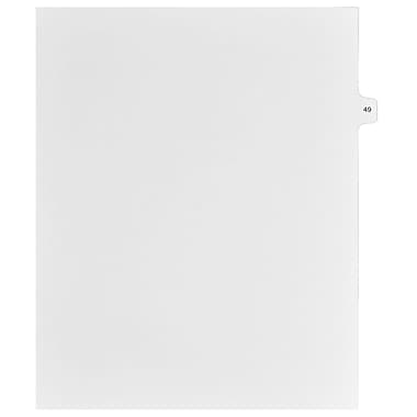 Mark Maker Legal Exhibit Index Tab White Single Tabs, 1/15th Cut, Letter Size, No Holes, Number 49, 25/Pack