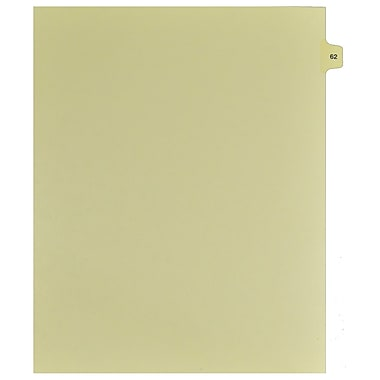 Mark Maker Legal Exhibit Index Tab Buff Single Tabs, 1/15th Cut, Letter Size, No Holes, Number 62, 25/Pack
