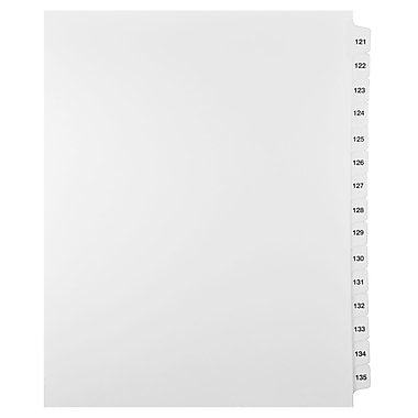Mark Maker Legal Exhibit Index Tab Set of White Single Tabs, 1/15th Cut, Letter Size, No Holes, Number 121 - 135