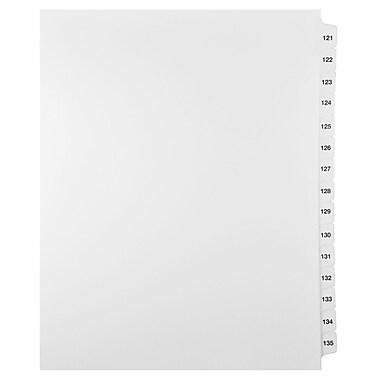 Mark Maker – Ensemble d'onglets séparateurs juridiques blancs, 1/15 onglets, format lettre, sans trous, numéros 121 à 135