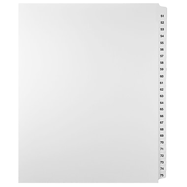 Mark Maker Legal Exhibit Index Tab Set of White Single Tabs, 1/25th Cut, Letter Size, No Holes, Number 51- 75