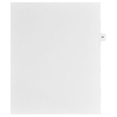 Mark Maker – Onglets séparateurs juridiques blancs, 1/15 onglets, format lettre, sans trous, numéro 50, 25/paquet