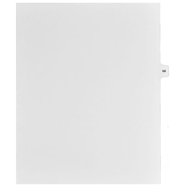 Mark Maker Legal Exhibit Index Tab White Single Tabs, 1/15th Cut, Letter Size, No Holes, Number 66, 25/Pack