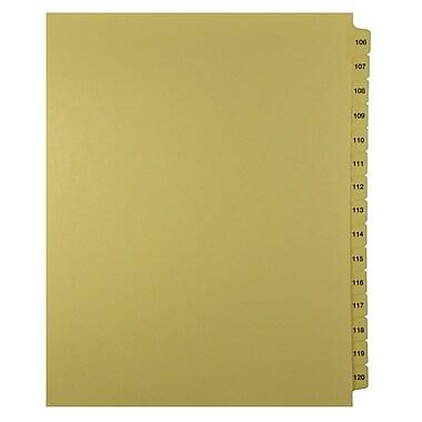 Mark Maker – Onglets séparateurs juridiques beiges, 1/15 onglets, format lettre, sans trous, numéros 106 à 120
