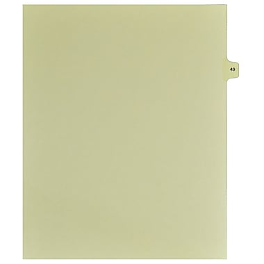 Mark Maker Legal Exhibit Index Tab Buff Single Tabs, 1/15th Cut, Letter Size, No Holes, Number 49, 25/Pack