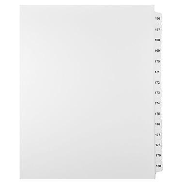Mark Maker – Ensemble d'onglets séparateurs juridiques blancs, 1/15 onglets, format lettre, sans trous, numéros 166 à 180