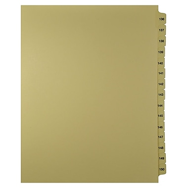 Mark Maker – Onglets séparateurs juridiques beiges, 1/15 onglets, format lettre, sans trous, numéros 136 à 150