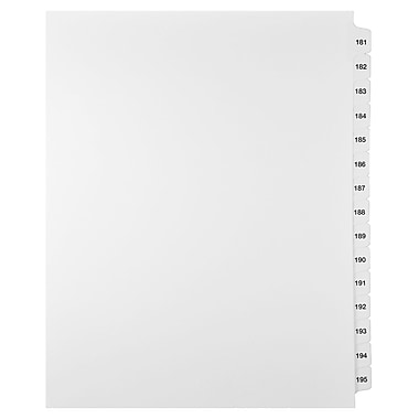 Mark Maker Legal Exhibit Index Tab Set of White Single Tabs, 1/15th Cut, Letter Size, No Holes, Number 181 - 195