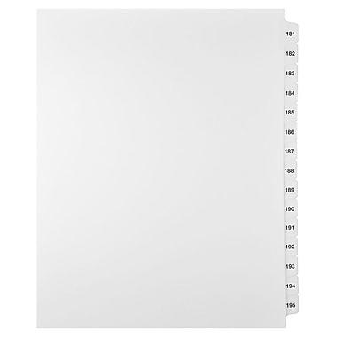 Mark Maker – Ensemble d'onglets séparateurs juridiques blancs, 1/15 onglets, format lettre, sans trous, numéros 181 à 195