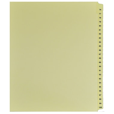 Mark Maker Legal Exhibit Index Tab Set of Buff Single Tabs, 1/25th Cut, Letter Size, No Holes, Number 76 - 100