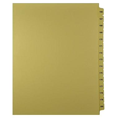 Mark Maker – Onglets séparateurs juridiques beiges, 1/15 onglets, format lettre, sans trous, numéros 166 à 180
