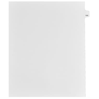 Mark Maker Legal Exhibit Index Tab White Single Tabs, 1/15th Cut, Letter Size, No Holes, Number 103, 25/Pack