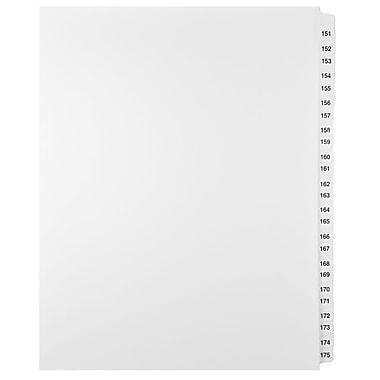 Mark Maker – Ensemble d'onglets séparateurs juridiques blancs, 1/25 onglets, format lettre, sans trous, numéros 151 à 175