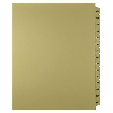 Mark Maker – Onglets séparateurs juridiques beiges, 1/15 onglets, format lettre, sans trous, numéros 181 à 195