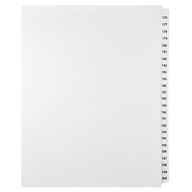 Mark Maker Legal Exhibit Index Tab Set of White Single Tabs, 1/25th Cut, Letter Size, No Holes, Number 176 - 200