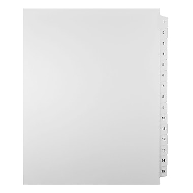 Mark Maker Legal Exhibit Index Tab Set of White Single Tabs, 1/15th Cut, Letter Size, No Holes, Number 1 - 15