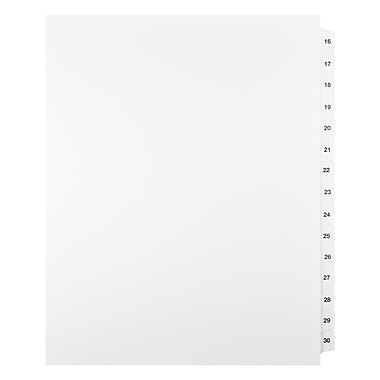 Mark Maker Legal Exhibit Index Tab Set of White Single Tabs, 1/15th Cut, Letter Size, No Holes, Number 16 - 30