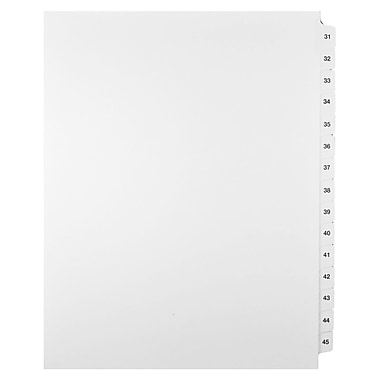 Mark Maker Legal Exhibit Index Tab Set of White Single Tabs, 1/15th Cut, Letter Size, No Holes, Number 31 - 45