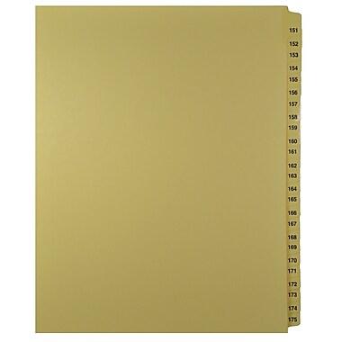 Mark Maker – Onglets séparateurs juridiques beiges, 1/25 onglets, format lettre, sans trous, numéros 151 à 175