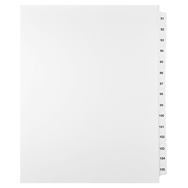 Mark Maker Legal Exhibit Index Tab Set of White Single Tabs, 1/15th Cut, Letter Size, No Holes, Number 91 - 105