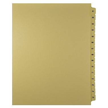 Mark Maker – Onglets séparateurs juridiques beiges, 1/15 onglets, format lettre, sans trous, numéros 61 à 75