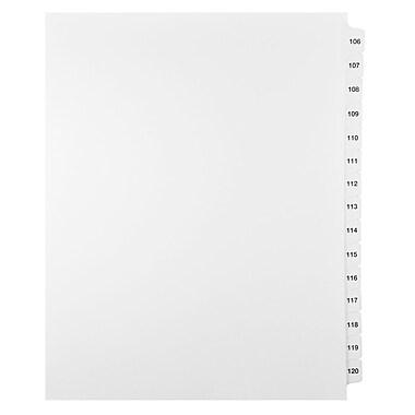 Mark Maker – Ensemble d'onglets séparateurs juridiques blancs, 1/15 onglets, format lettre, sans trous, numéros 106 à 120