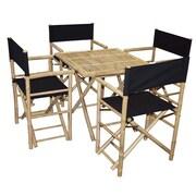 Bamboo54 5 Piece Dining Set; Black