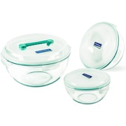 Glasslock 3 Piece Anti Spill Mixing Bowl Set
