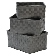 Evideco 3 Piece Checkered Woven Basket Set; Gray