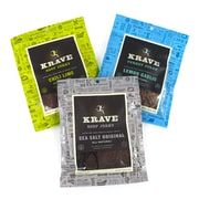 Krave Chili Lime Beef, Sea Salt Original Beef and Lemon Garlic Turkey Jerky, 3.25 oz, 3 Pack