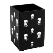 Insten Soft Touch Pen/Pencil/Ruler Holder/Cup Stationery/Desktop Organizer, Black with White Skull (2174119)